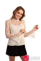Кружевная блуза в стиле ампир Paccio - кремовый цвет, L (есть размеры), фото 1