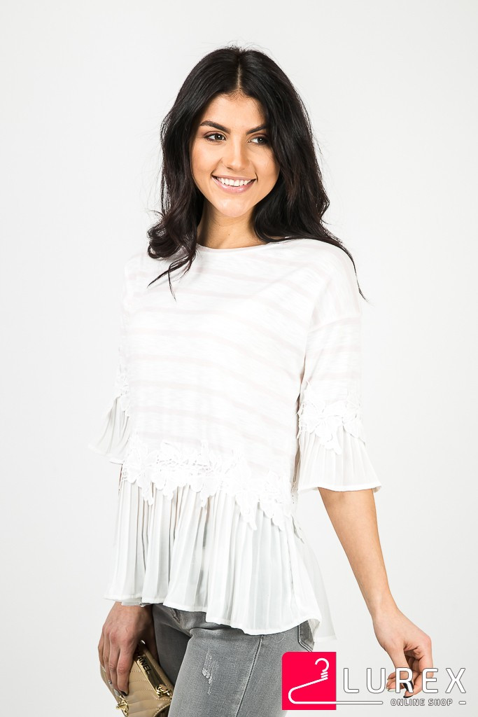 Блуза в полоску с шифоновыми рукавами MsV - пудра цвет, L/XL (есть размеры)
