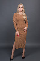 Длинное вязанное платье MsV - горчичный цвет, L/XL (есть размеры)