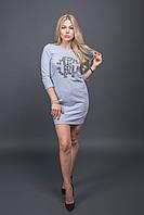 Модная туника с декором из бусин Free Still - св-серый цвет, M (есть размеры)
