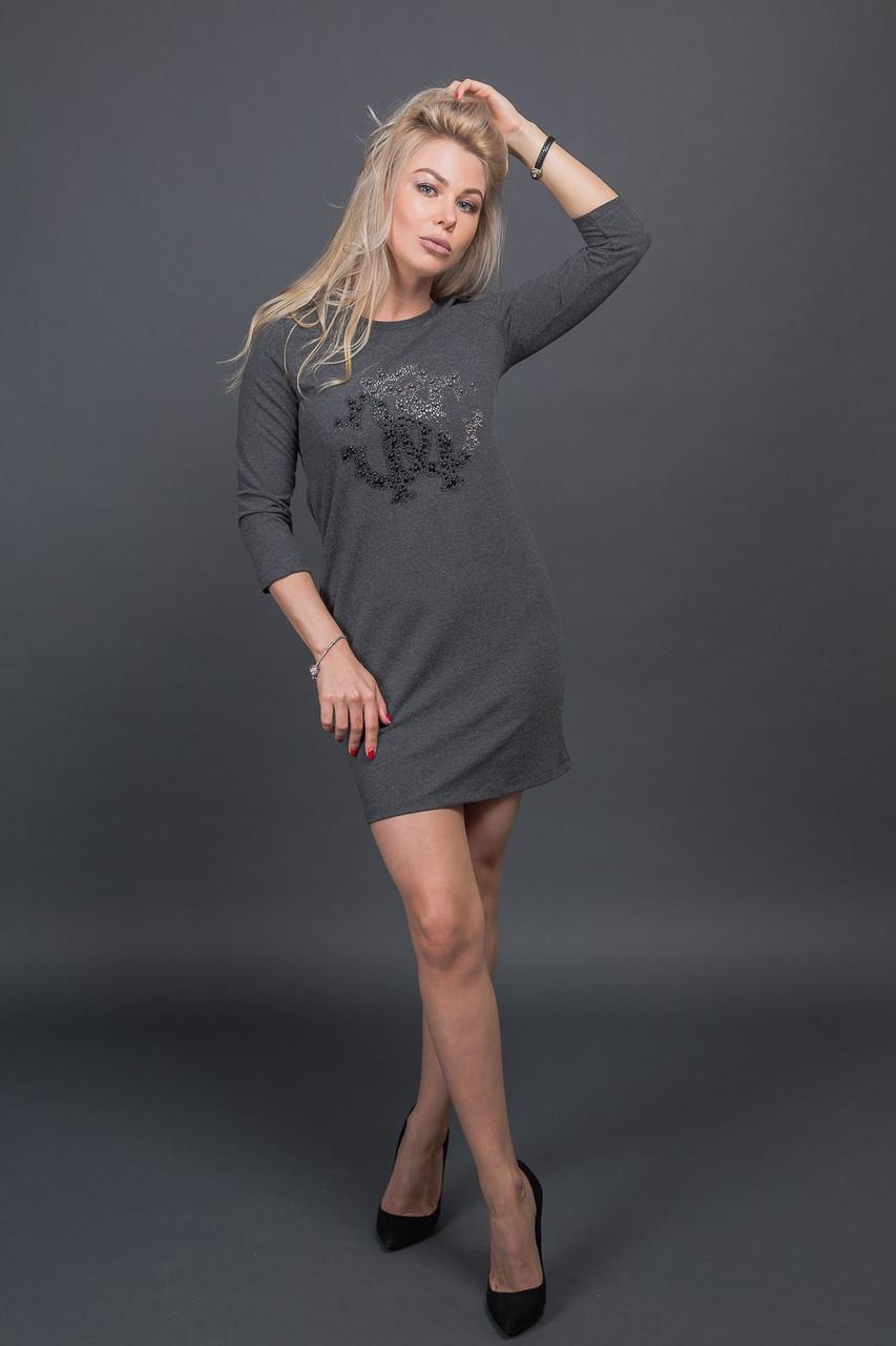 Модная туника с декором из бусин Free Still - темно-серый цвет, M (есть размеры)