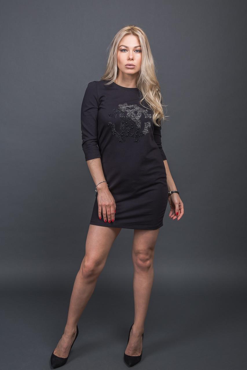 Модная туника с декором из бусин Free Still - черный цвет, S (есть размеры)