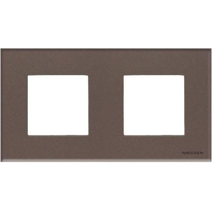 Рамка 2 постовая кофейное стекло N2272 CС, ZENIT