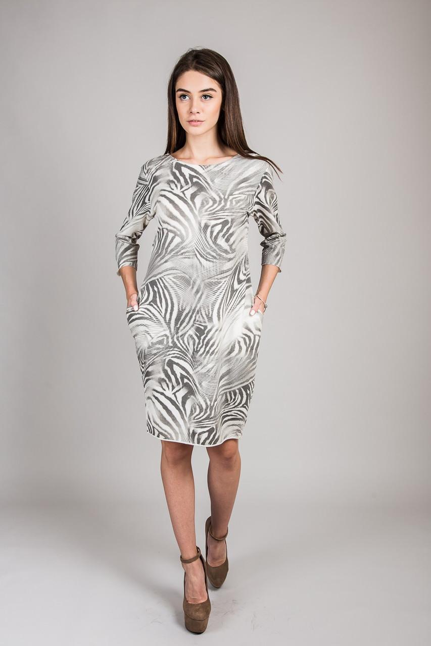 Женское платье с абстракцией LUREX - кремовый цвет, S (есть размеры)