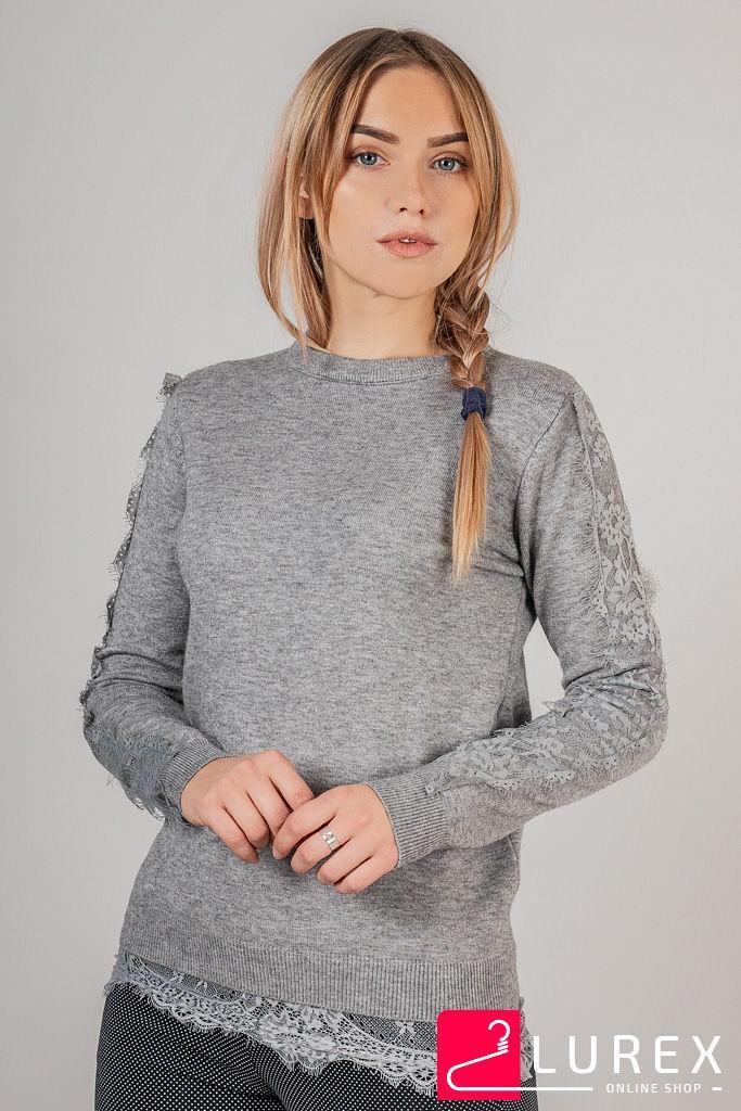 Кофта с кружевной тесьмой по рукаве LUREX - серый цвет, S (есть размеры)