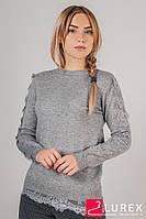 Кофта с кружевной тесьмой по рукаве LUREX - серый цвет, S (есть размеры), фото 1