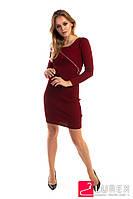 Платье с замком по диагонали LUREX - бордо цвет, XS (есть размеры), фото 1