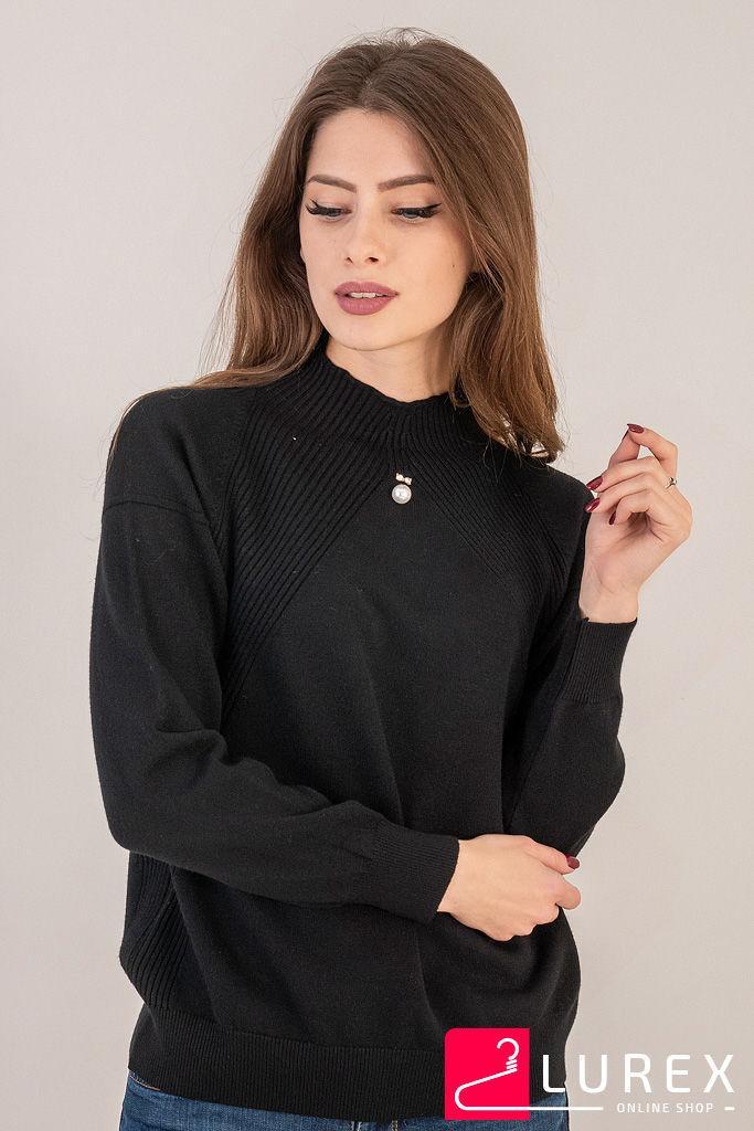Гольф с вставками вязки лапша LUREX - черный цвет, S (есть размеры)