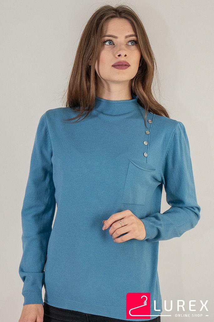 Гольф с карманом и пуговицами LUREX - голубой цвет, L (есть размеры)
