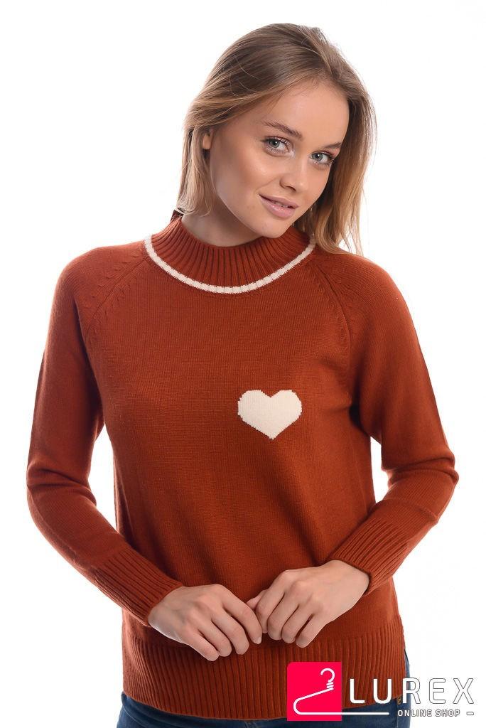 Теплый реглан с сердечком слева LUREX - терракотовый цвет, L (есть размеры)