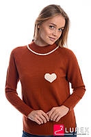 Теплый реглан с сердечком слева LUREX - терракотовый цвет, L (есть размеры), фото 1