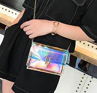 Товар с дефектом. Прозрачная сумочка с серебристой вставкой