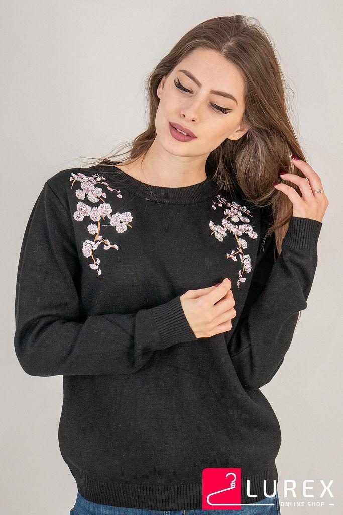Кофта с цветочной вышивкой на воротнике LUREX - черный цвет, S (есть размеры)