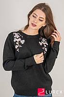 Кофта с цветочной вышивкой на воротнике LUREX - черный цвет, S (есть размеры), фото 1