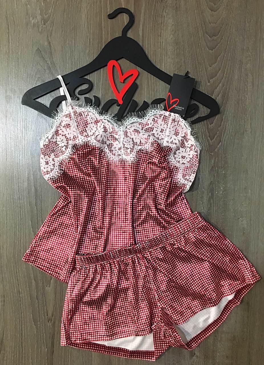 Бархатная пижама с кружевом в клеточку ТМ Exclusive 038, пижамы женские.