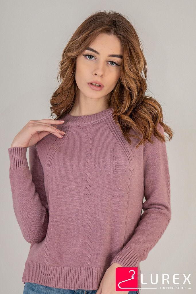 Реглан с тоненькими косичками по рукаву LUREX - розовый цвет, L (есть размеры)