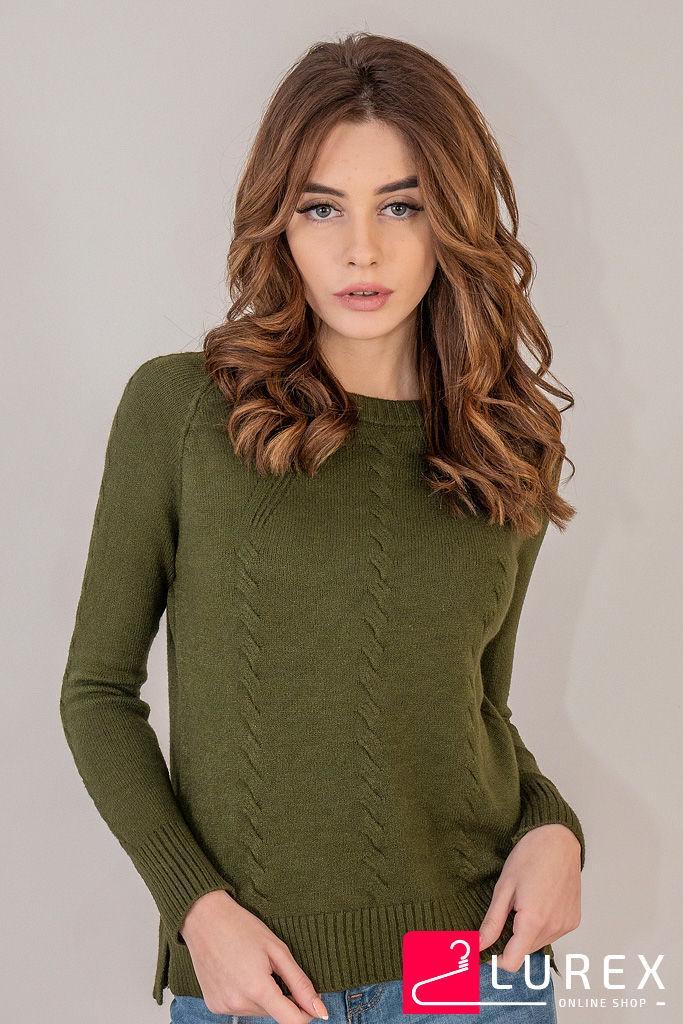 Реглан с тоненькими косичками по рукаву LUREX - темно-зеленый цвет, L (есть размеры)
