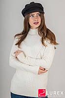 Теплая кофта комбинированной вязки LUREX - бежевый цвет, L (есть размеры), фото 1