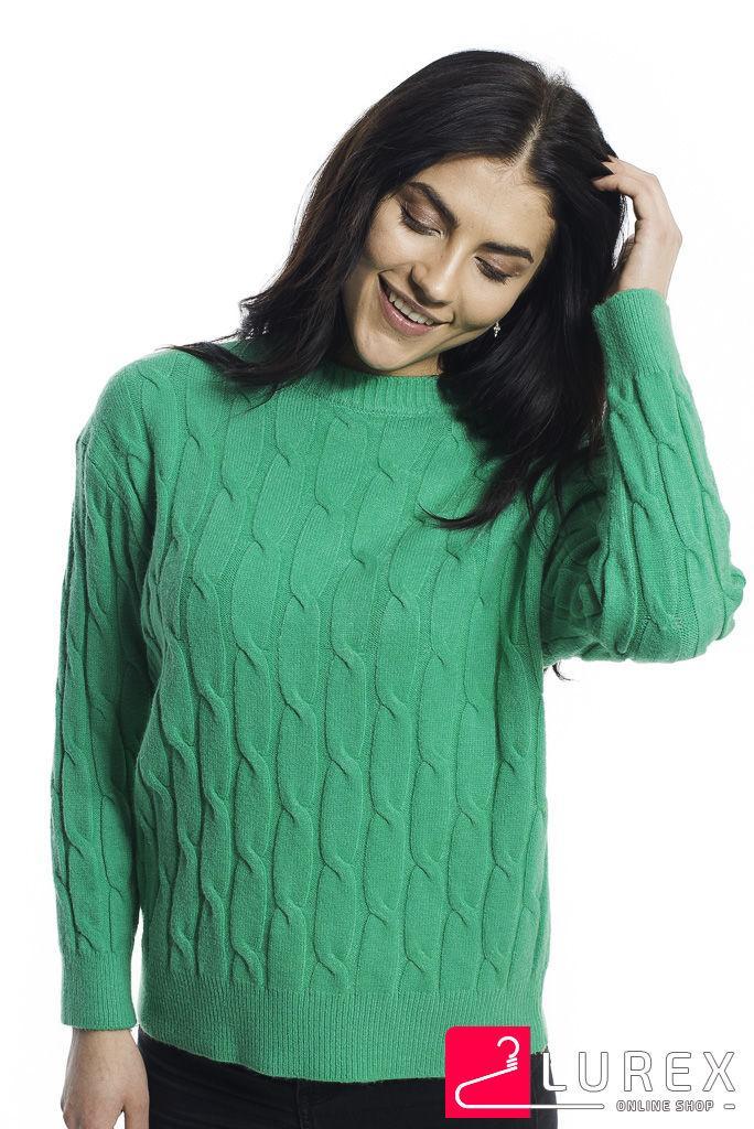 Теплая кофта с крупной вязкой косички LUREX - зеленый цвет, S (есть размеры)