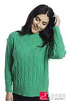 Теплая кофта с крупной вязкой косички LUREX - зеленый цвет, S (есть размеры), фото 1