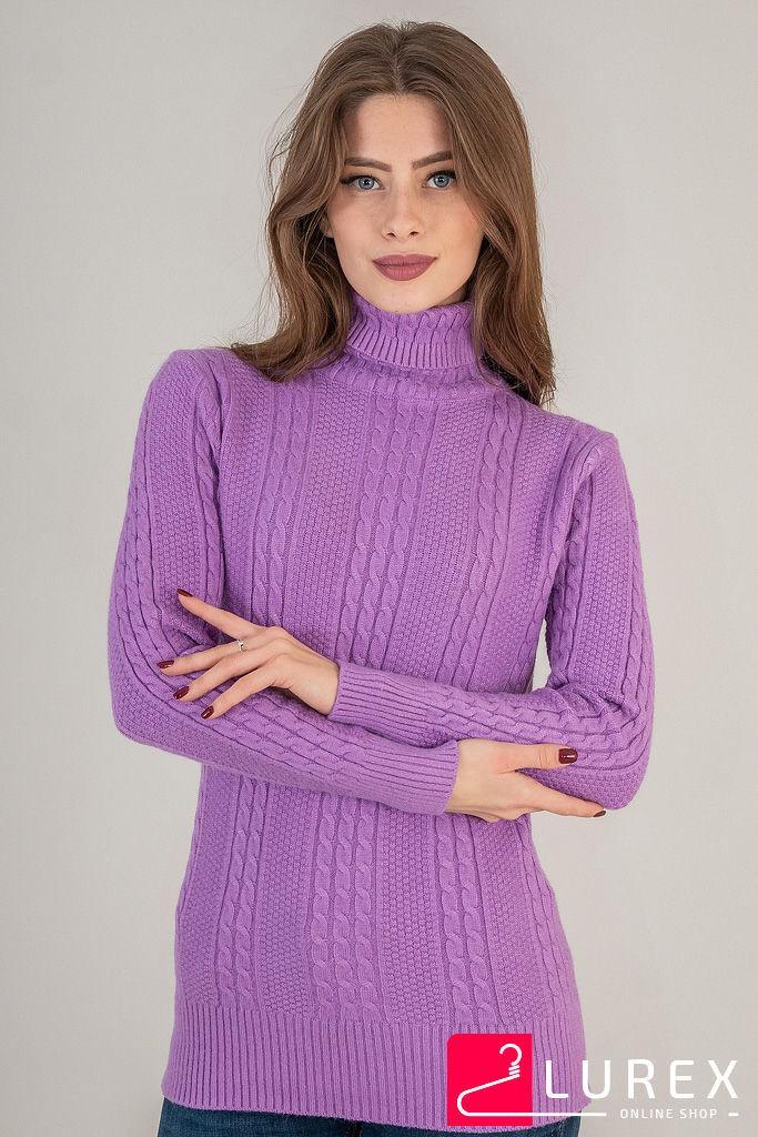 Теплый гольф с вязкой косичка LUREX - фиолетовый цвет, L (есть размеры)