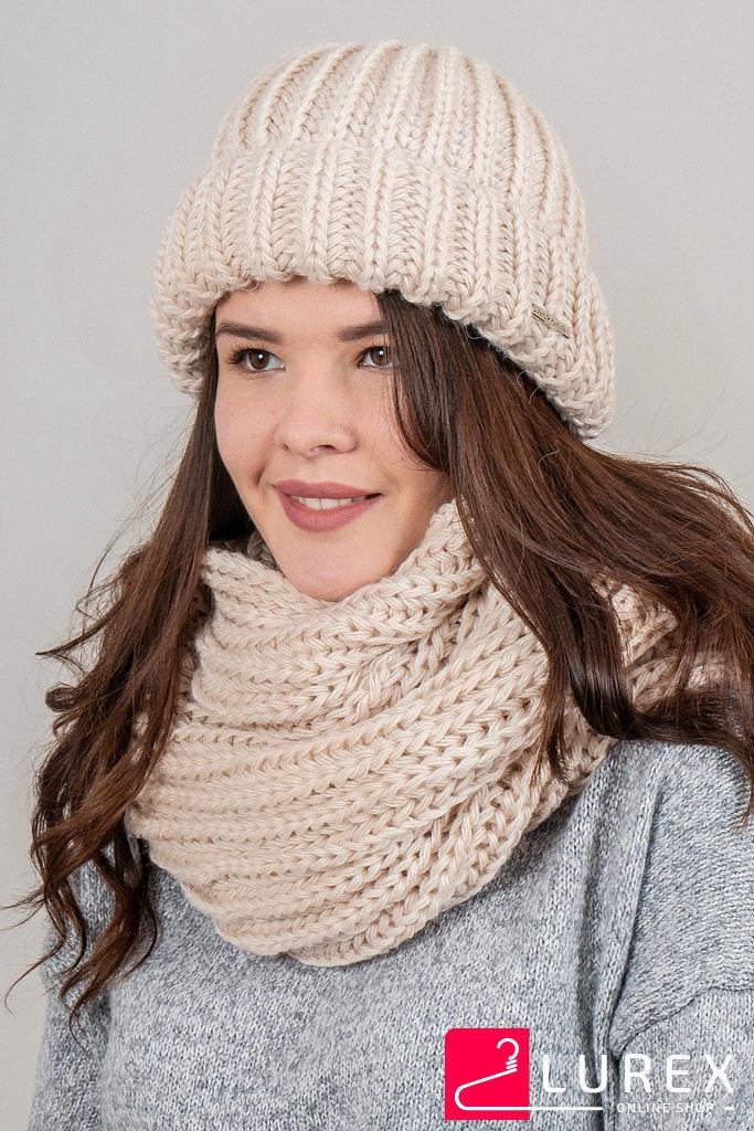 Теплая шапка объемной вязки Инфинити CASKONA - бежевый цвет, ONE SIZE (есть размеры)