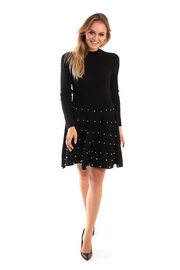 Платье с россыпью жемчужин на юбочке LUREX - черный цвет, XS (есть размеры)
