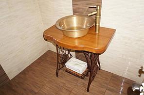 Медная кухонная мойка с евровентилем в цвет мойки