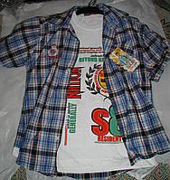 Рубашка с футболкой от 9 до 12 лет голубая с синим