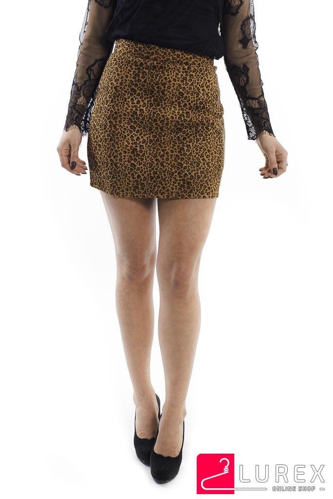 Леопардовая юбка-шортики из замши LUREX - коричневый цвет, S (есть размеры)