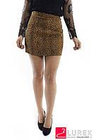 Леопардовая юбка-шортики из замши LUREX - коричневый цвет, S (есть размеры), фото 1