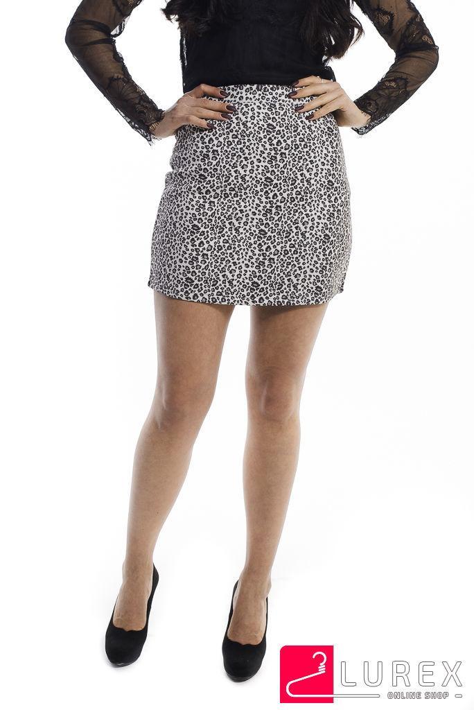 Леопардовая юбка-шортики из замши LUREX - молочный цвет, M (есть размеры)