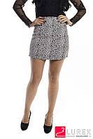 Леопардовая юбка-шортики из замши LUREX - молочный цвет, M (есть размеры), фото 1