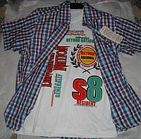 Рубашка с футболкой от 9 до 12 лет голубая с сиреневым