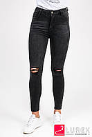 Черные джинсы с дырками на коленях Laulia - черный цвет, L (есть размеры)