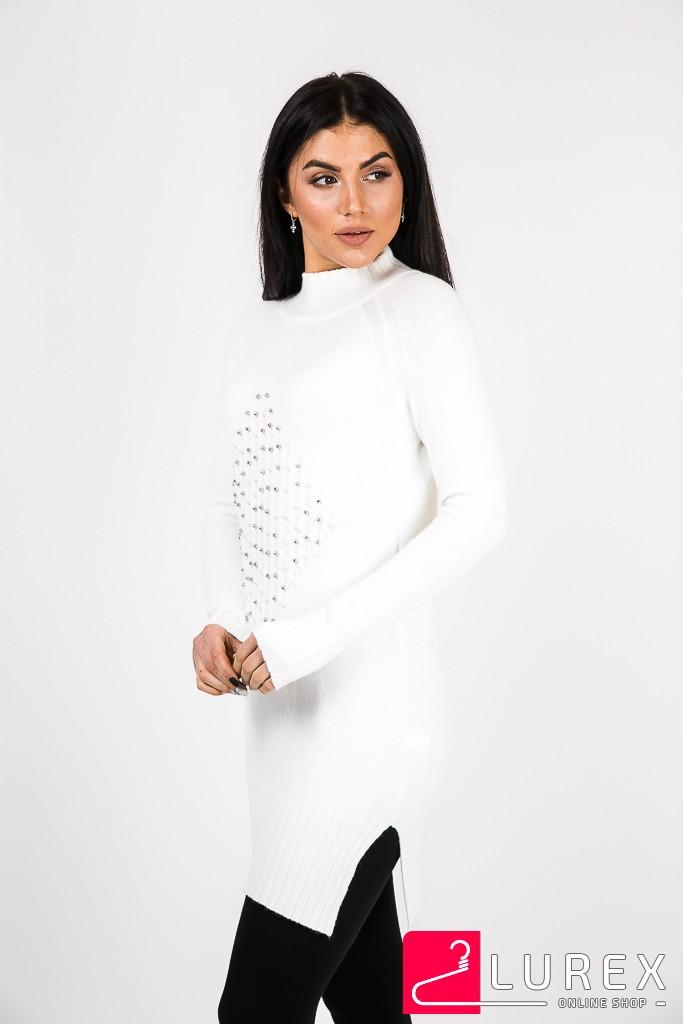 Туника с ромбом из бусин Sweet Lady - белый цвет, L/XL (есть размеры)