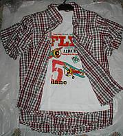 Рубашка с футболкой от 9 до 12 лет красная с серым