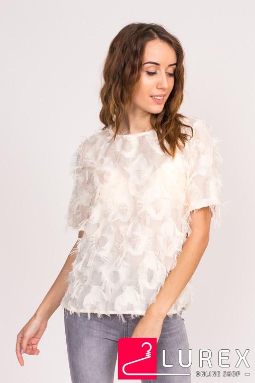 Стильная блузка с имитацией перьев LUREX - бежевый цвет, S (есть размеры)