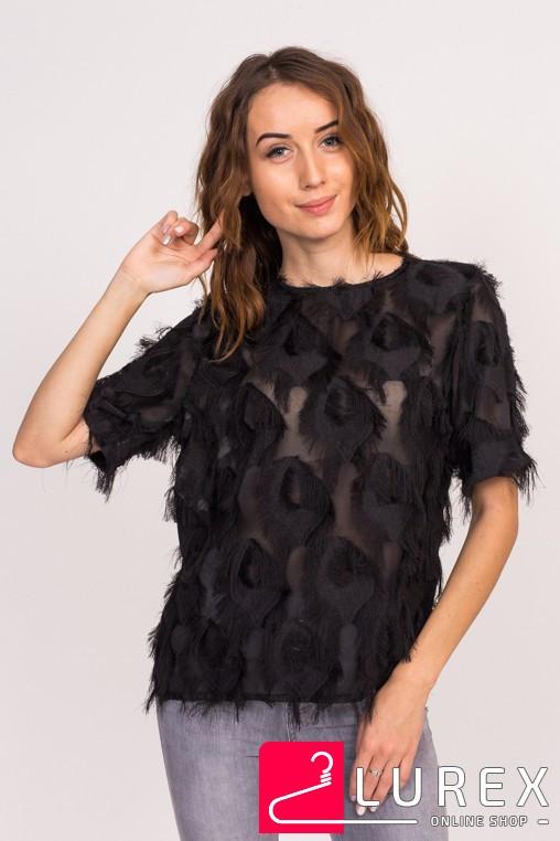9fcd1b058ed5 Стильная блузка с имитацией перьев LUREX - черный цвет, M (есть размеры) -  модные ...