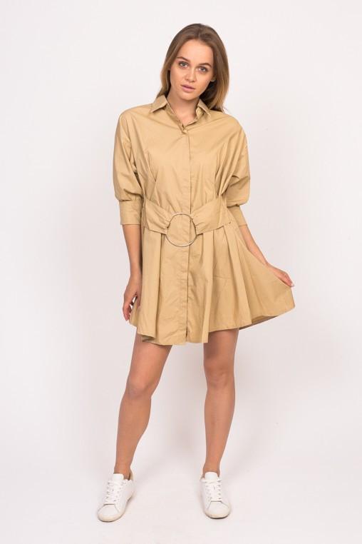 Платье рубашка с кольцом на поясе Yingzi - кофейный цвет, L (есть размеры)