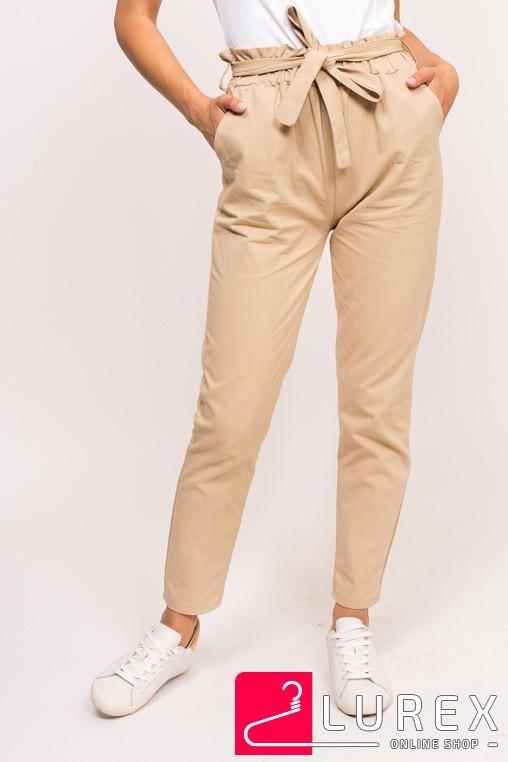 Стильные штаны с широкой резинкой LUREX - бежевый цвет, S (есть размеры)