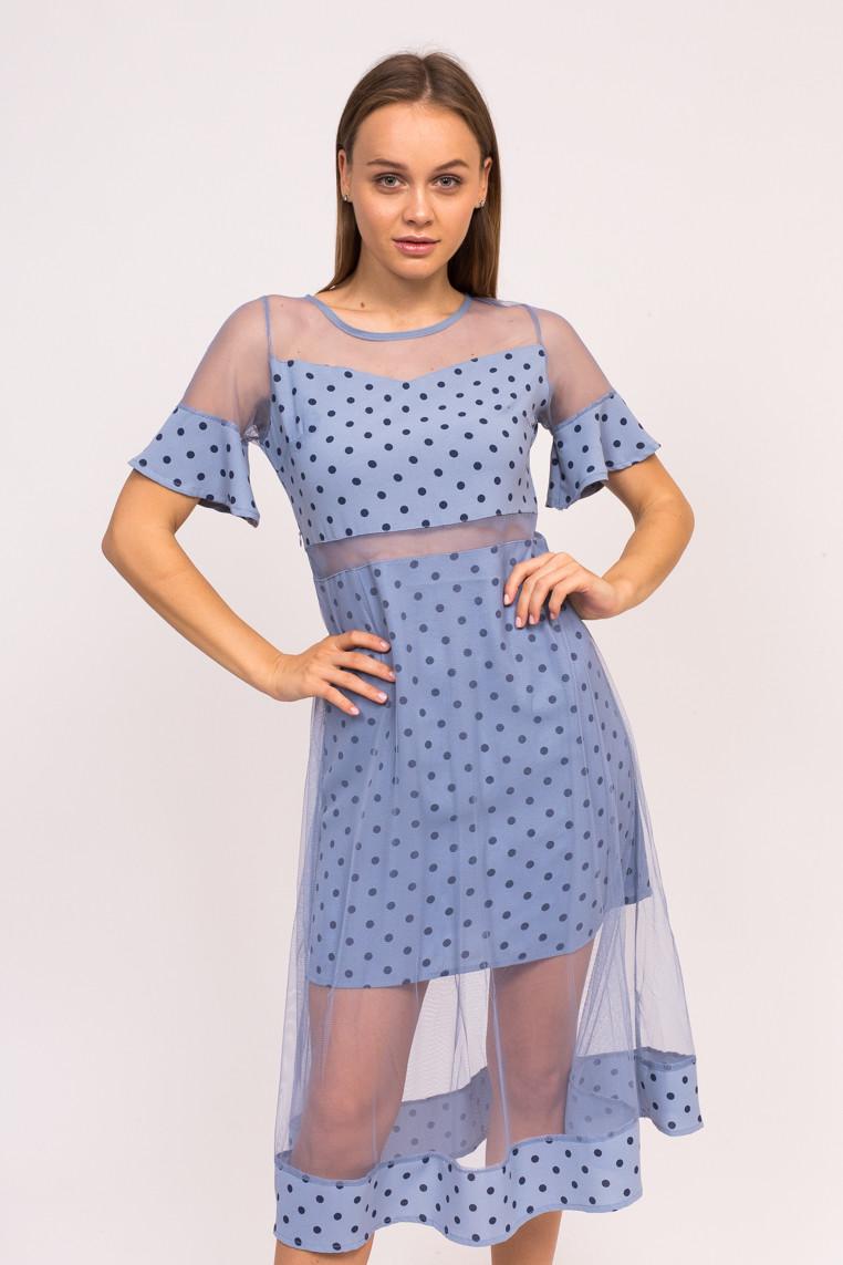 Длинное платье в горох KDY - синий цвет, S (есть размеры)