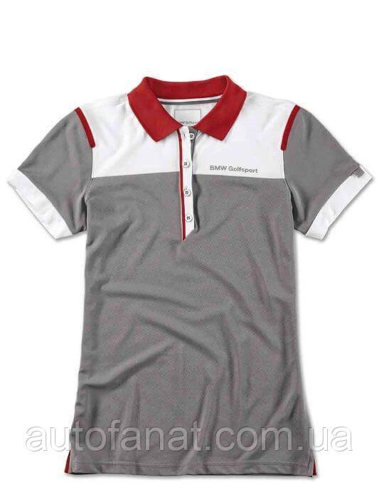Оригинальная женская рубашка-поло BMW Golfsport Polo Shirt, Ladies, Grey/White/Red (80142460928)