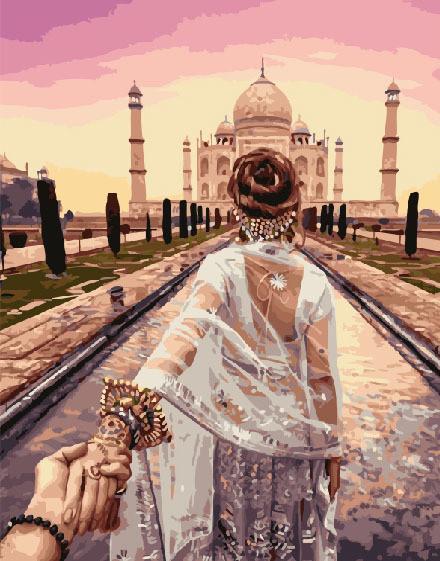 Картина по номерам Следуй за мной Тадж-Махал, 40x50 см., Brushme