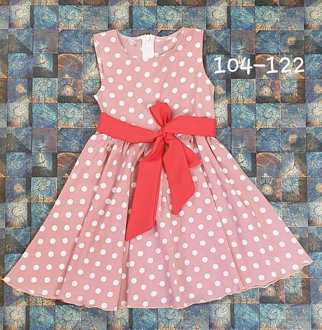 Платье для девочки в горошек пудра р. 104-122, фото 2