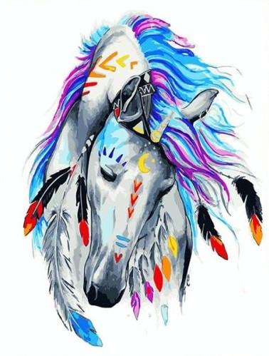 Картина по номерам Лошадь индиго, 40x50 см., Brushme