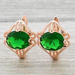 Серьги Xuping Золото Фрейлины 23145 размер 17х14 мм зелёные фианиты вес 4.2 г позолота РО