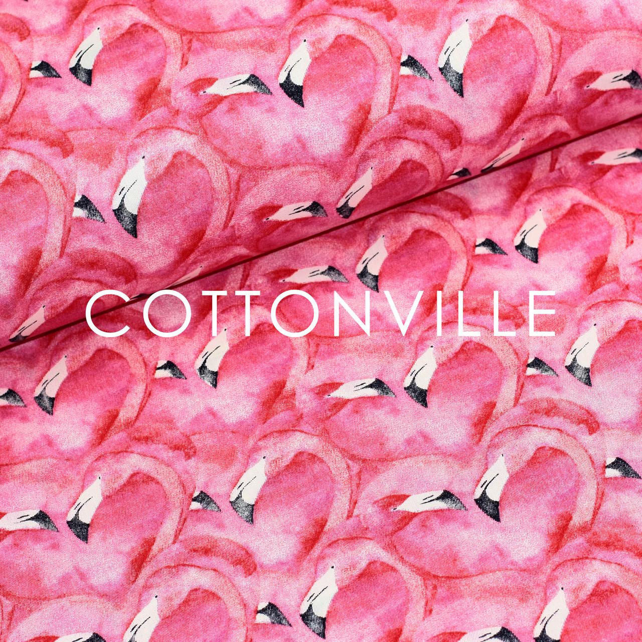 ✁ Отрезы хлопковой ткани Фламинго сердца