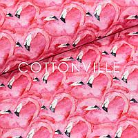 ✁ Отрезы хлопковой ткани Фламинго сердца, фото 1