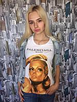 Женская футболка бренд с модным принтом в расцветках. Н-8-0519